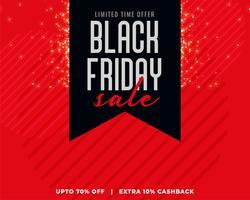 roter Hintergrund mit schwarzem Band schwarzen Freitag Verkauf Banner