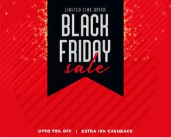 red background with black ribbon black friday sale banner
