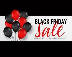 banner moderno venerdì nero con palloncini rossi e neri