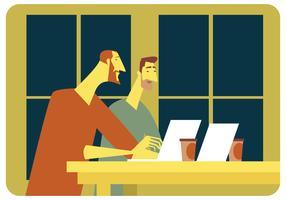 Zwei Männer, die in Caffe-Vektor sich treffen