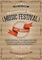 Affiche d'invitation de festival vintage vecteur