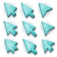 Iconos de hielo, cursor y flechas