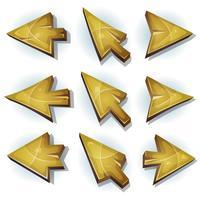 Iconos de madera, cursor y flechas