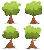 Conjunto de árboles graciosos verdes