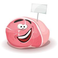 Funny Ham Character With White Label Stick