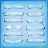 Hielo de vidrio de dibujos animados y pancartas de cristal