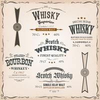 Whisky Labels And Seals On Vintage Background