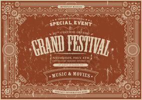 Fundo de Poster Vintage Festival Retro