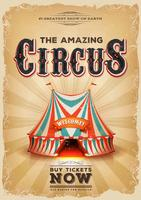 Vintage Old Circus Poster With Red And Blue Big Top