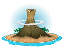 Volcano On Desert Island vector