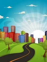 Paysage de dessin animé du centre-ville
