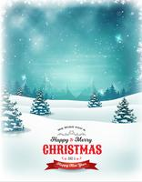 Vintage Christmas And New Year Landscape vector