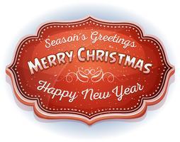 Feliz año nuevo y placa de saludos de temporada
