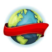 Earth Planet With Ribbon