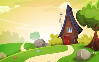 Haus innerhalb der Frühlingslandschaft
