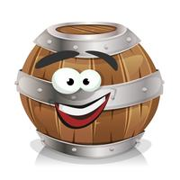 Happy Wood Barrel Character