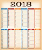 Vintage Design Calendar For Year 2018