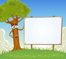 Spring Tree Holding Blank Billboard