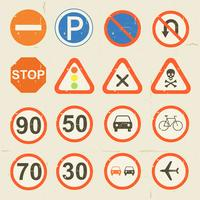Road Signs Grunge Retro Set