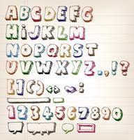 Doodle elementos ABC de la vendimia