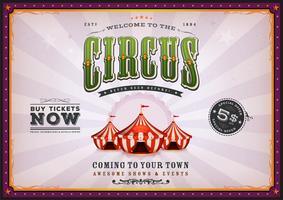 Poster vintage del circo con raggi di sole