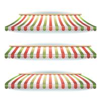 Striped Italian Awnings Set For Italian Pizzeria