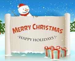 Père Noël bonhomme de neige derrière le fond de parchemin de Noël