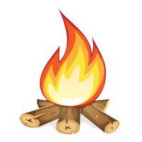Hoguera ardiente con madera