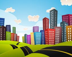 Cartoon Downtown Road landschap