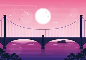 Vector Landscape Bridge Illustration