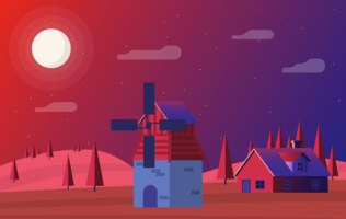 Vector Red and Purple Landscape Illustration