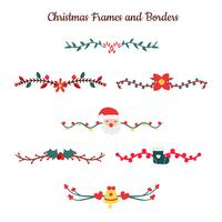 Cute Christmas Borders Collection With Flowers And Elements