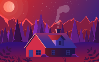 Illustration vectorielle paysage rouge