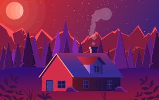 Vector Red Landscape Illustration