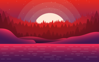 Vector Red Landscape Illustration
