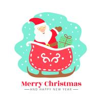 Gullig Santa med present och släde