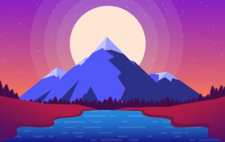 Vector Purple Landscape Illustration