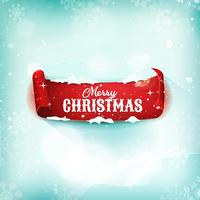 Christmas Parchment Scroll On Snow Background vector
