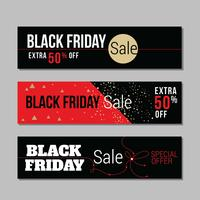 Set of Abstract Black Friday Sales Background Horizontal Banners