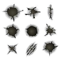 Bullet, Gunshot Holes, Cracks And Scratches Set vector