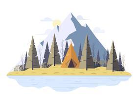 Vector ilustración paisaje de invierno