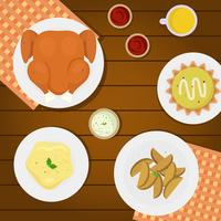 Illustration vectorielle de Thanksgiving Table Overhead