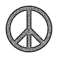 Peace symbol, Hand drawn brush, illustration