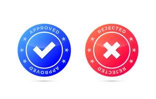 Marca aprobada y rechazada, etiqueta positiva y negativa.