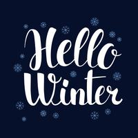 Hello Winter, Calligraphy season banner design, illustration