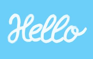 Hello word calligraphy design, blue background, illustration