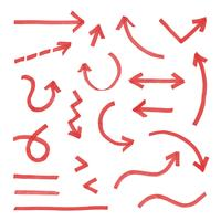Hand drawn arrow set red