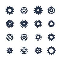 Cogs symbol set on white background, settings icon, illustration vector