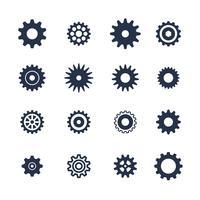 Il simbolo dei denti ha messo su fondo bianco, icona delle regolazioni, illustrazione