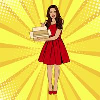 Young sexy surprised woman holding empty box pop art vector